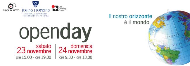 open day sabato 23 dalle ore 15.00 alle ore 19.00 e domenica 24 novembre  dalle ore 9.30 alle ore 13.00.
